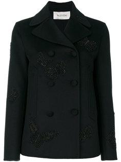 пальто с вышитыми бабочками  Valentino