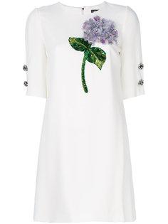 платье с аппликацией гортензии Dolce & Gabbana