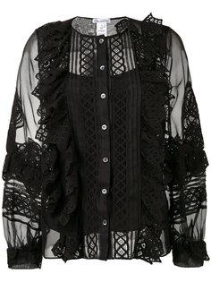 блузка с полупрозрачными рукавами Oscar de la Renta