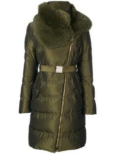 пальто с высоким воротом и поясом Versace Collection