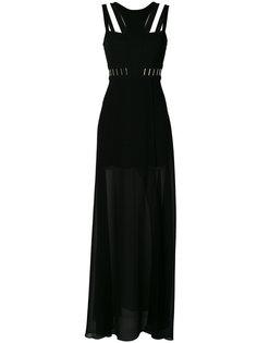 полупрозрачное вечернее платье с вырезами Versace Collection