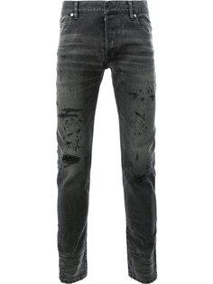 узкие джинсы с протертостями Balmain