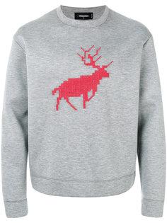 свитер с вышивкой оленя Dsquared2