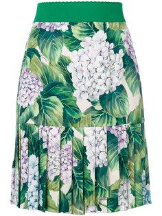 мини-юбка с приллированным подолом и принтом гортензий Dolce & Gabbana