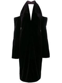 бархатное платье с вырезами на плечах Tom Ford