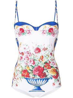 слитный купальник с цветочным рисунком Dolce & Gabbana