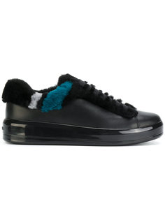 кроссовки на шнуровке с панелью из овечьего меха Prada