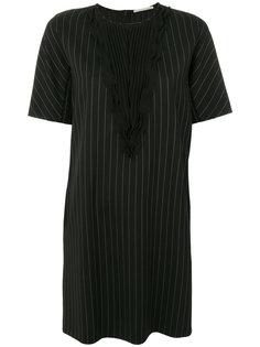 полосатое платье с плиссировками спереди Marco De Vincenzo