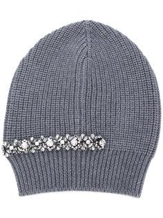 шапка-бини в рубчик с отделкой стразами Nº21