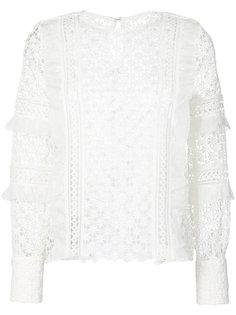 блузка с оборками и узором маргариток Self-Portrait
