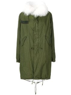 пальто с капюшоном с отделкой из меха кролика As65