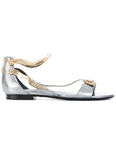 сандалии на плоской подошве с ремешками в виде змеи Roberto Cavalli