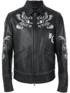 куртка с заклепками и принтом Roberto Cavalli