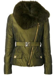 куртка с поясом и отделкой мехом Versace Collection