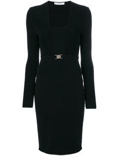 двухслойное платье с поясом Versace Collection