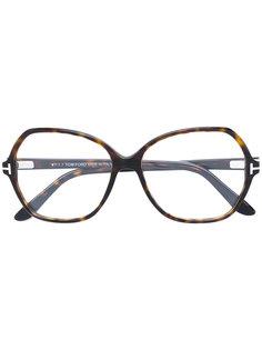 крупные очки с эффектом черепахового панциря Tom Ford Eyewear
