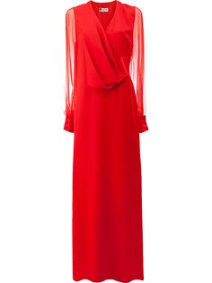 вечернее платье с полупрозрачными рукавами Lanvin