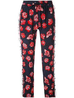 брюки с узором из роз и оборками Markus Lupfer