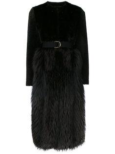 пальто из разнофактурного меха с поясом Blancha
