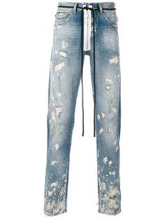 узкие джинсы с протертостями Off-White