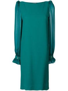 платье с полупрозрачными рукавами  Roberto Cavalli
