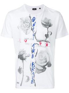 футболка с принтом розы Diesel