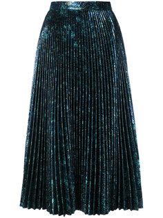плиссированная юбка металлик  Prada