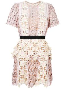 платье мини с цветочными нашивками  Self-Portrait
