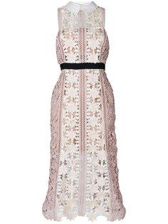 кружевное платье с контрастным поясом Self-Portrait