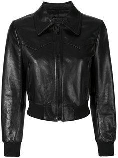 укороченная кожаная куртка на молнии Prada