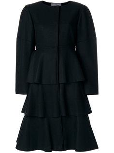 пальто с круглым вырезом с оборками Alberta Ferretti