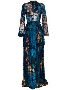 длинное бархатное платье с эффектом деворе Alberta Ferretti