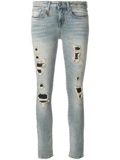 джинсы скинни с прорехами  R13