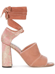 босоножки с открытым носком на наборном каблуке Rochas