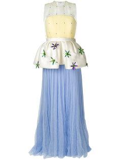 длинное платье с пышной баской Delpozo