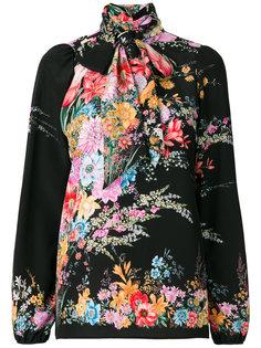 блузка с воротником с завязкой и цветочным принтом  Nº21