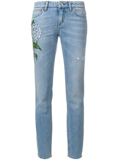 прямые джинсы с вышитыми цветами Dolce & Gabbana