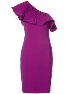 платье с плиссировкой на одно плечо Badgley Mischka