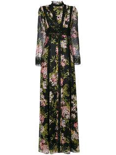 полупрозрачное длинное платье с цветочным принтом Giambattista Valli