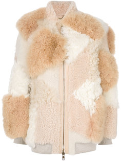 куртка из овчины в стиле пэчворк Chloé