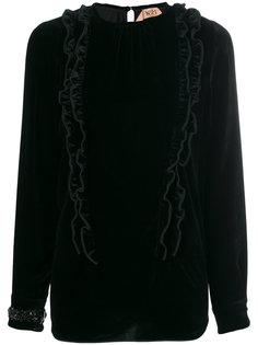 бархатная блузка с отделкой рюшами Nº21