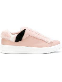кроссовки на шнуровке с меховым эффектом Prada