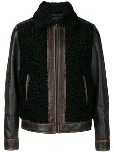 кожаная куртка с меховыми панелями Prada