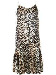 расклешенное платье с леопардовым рисунком Ganni