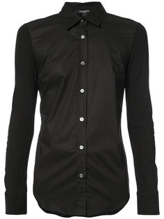 Long Sleeve Button-Down Shirt With Jersey Sleeves Derek Lam
