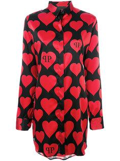 длинная рубашка с сердцами Philipp Plein