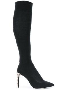 высокие сапоги с каблуками с бусинами René Caovilla