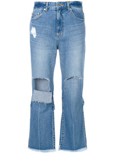 укороченные джинсы с прорванными деталями Sjyp
