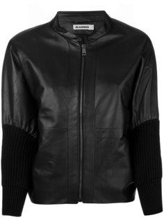 куртка из кожи с манжетами в рубчик Jil Sander