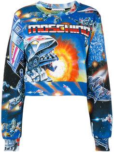 укороченный свитер с космическим принтом Moschino